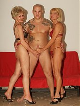 Sultry plumpers Rita and Rosalie got together to double team on a stud and empty out his prick