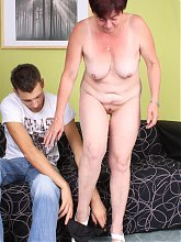 Curvy Simone is a horny older babe in her prime years and she loves to stuff her face with cock