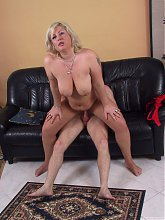 Chubby blonde housewife fucking and sucking hard