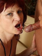 Old redhead sucking dick and gettin' fucked