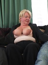 Mature blonde goes home with them and they have a world class fucking threesome