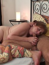 He pumps the dripping wet granny pussy after a walk in the park and he loves her tightness