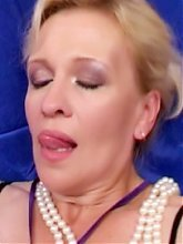 Mature sluts Lina and Christina give their young stud a session of their oral and pussy fucking skills