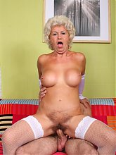 Busty grandma Francesca got herself a perm and got her pussy slammed by a young cock live