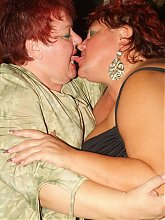 Fat matures Louise and Mindy got their chubby cooters alternately fucked in this kinky threesome