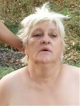 Chubby mature Anna Mary kneels down to give a blowjob and got her fat cooter fucked in the outdoors live
