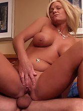 Blonde MILF Cala hooks up with a younger guy and enjoys a dose of hard pounding